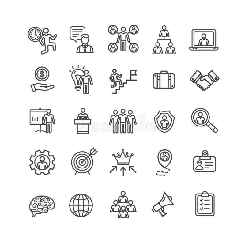 Zarządzania Biznesowego czerni ikony Cienki Kreskowy set wektor royalty ilustracja