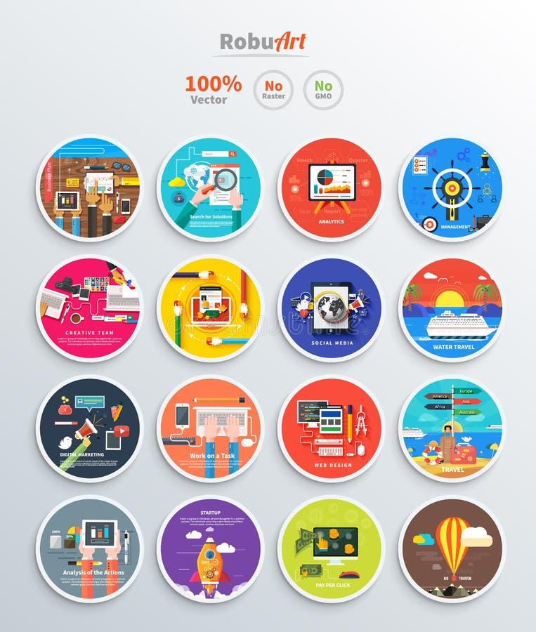 Zarządzania cyfrowego marketingowego srartup planistyczny seo ilustracja wektor