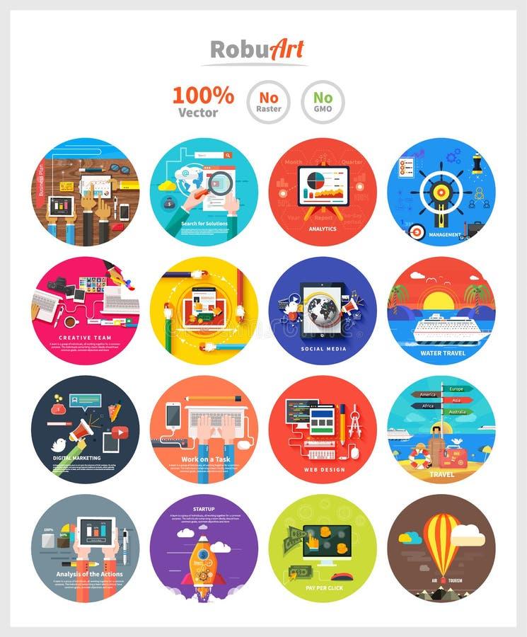 Zarządzania cyfrowego marketingowego srartup planistyczny seo royalty ilustracja