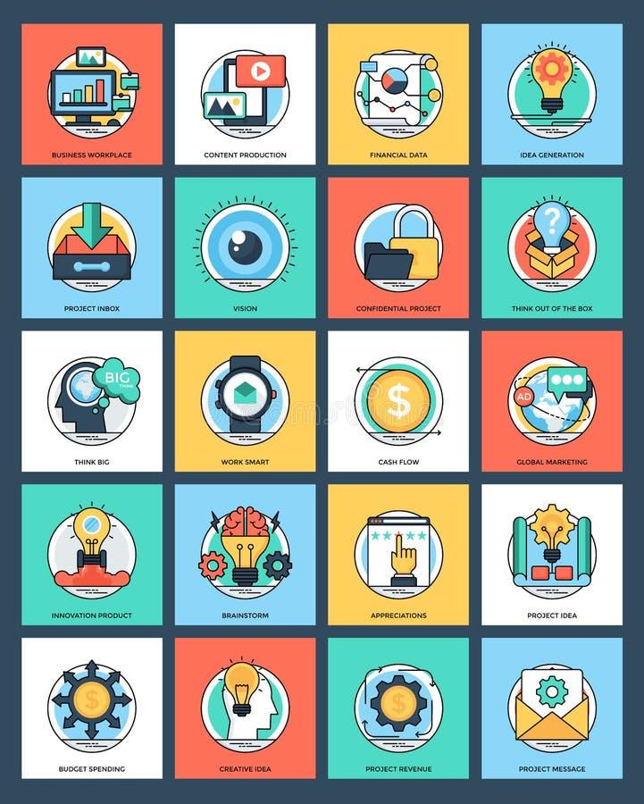 Zarządzania Projektem mieszkania ikony ilustracji