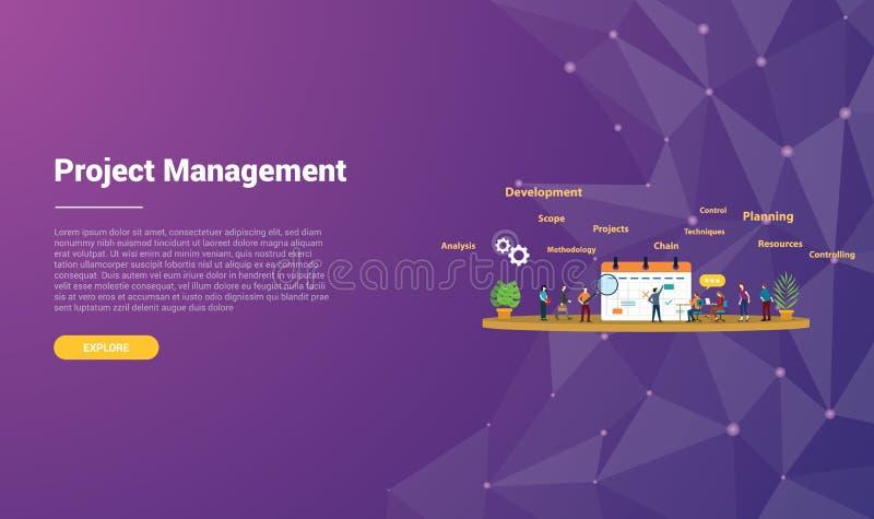 Zarządzania projektem pojęcie dla strona internetowa szablonu ląduje homepage sztandar z nowożytnym purpurowym fiołkowym tł royalty ilustracja