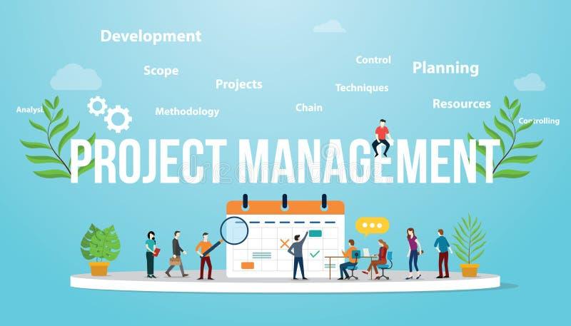 Zarządzania projektem pojęcie z biznesu kalendarzem i drużynowymi ludźmi spotyka wpólnie - wektor royalty ilustracja