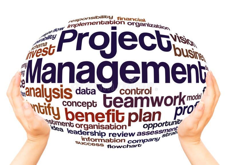 Zarządzania Projektem słowa chmury ręki sfery pojęcie obraz stock