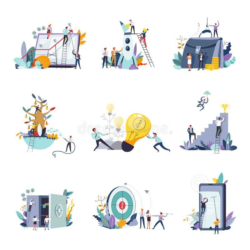 Zarządzania przedsiębiorstwem i finanse pojęcia marketingowe ikony royalty ilustracja