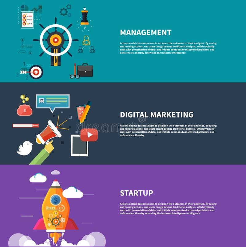 Zarządzania srartup cyfrowy marketingowy planowanie ilustracja wektor