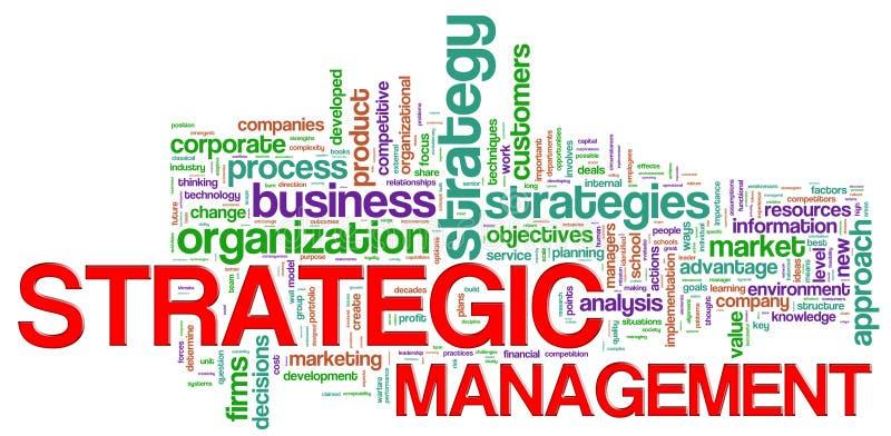 zarządzania strategiczny etykietek słowo ilustracja wektor
