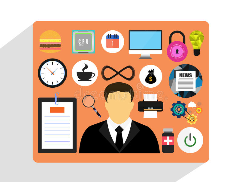 Zarządzanie biznes i marketing, Płaski projekta styl ilustracja wektor
