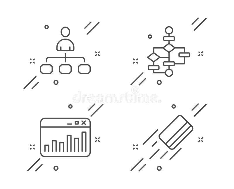Zarządzanie, Blokowy diagram i marketing statystyki ikony ustawiać, Kredytowej karty znak wektor ilustracji