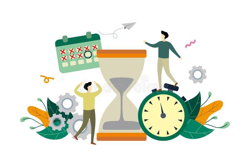 Zarządzanie czasem pracy, płaska ilustracja ostatecznego terminu z dużym szkłem godzinowym i szablonem wektorowym dla małych osób ilustracja wektor