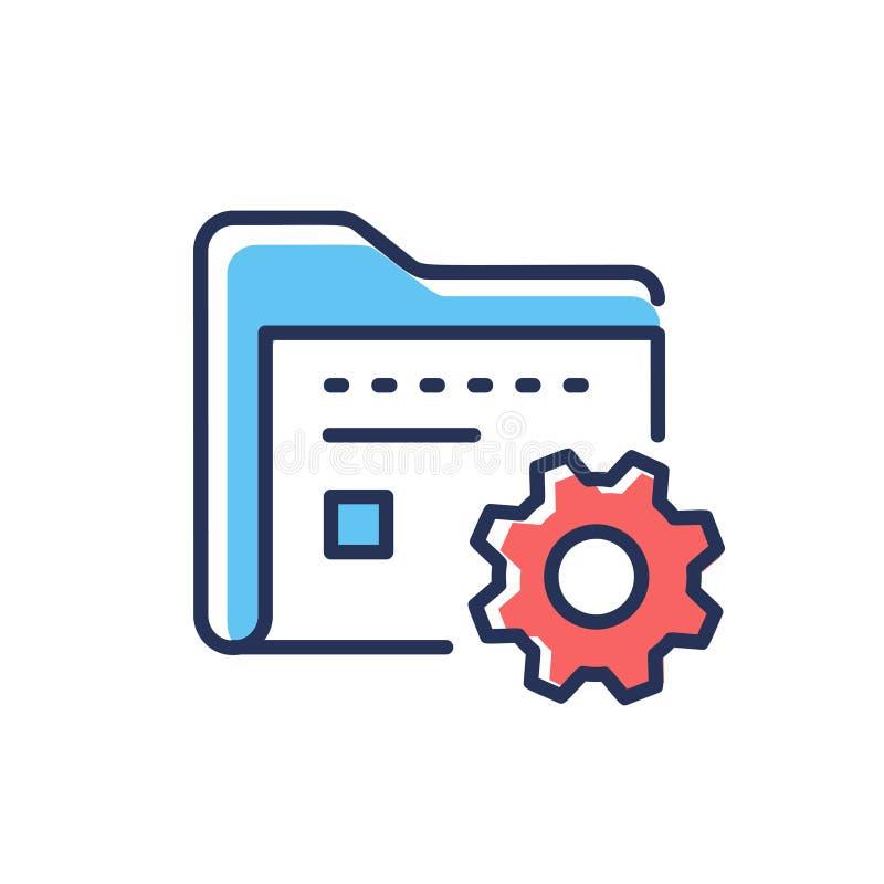 Zarządzanie Danymi - nowożytna wektor linii projekta ikona royalty ilustracja