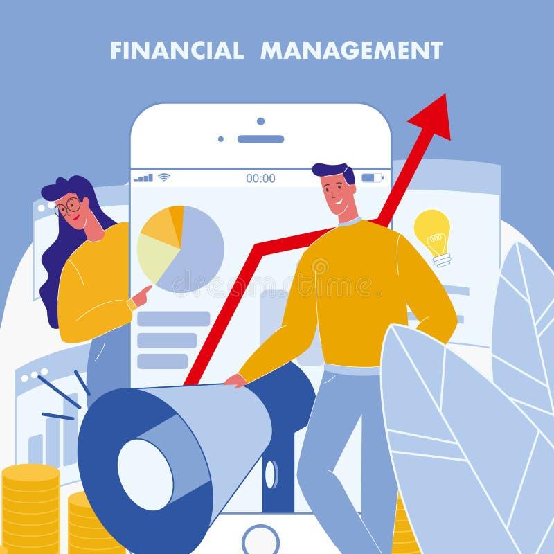 Zarządzanie Finansami Płaski Wektorowy plakat z tekstem royalty ilustracja