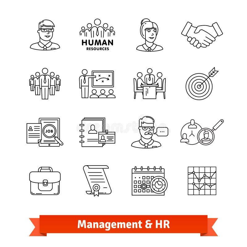 Zarządzanie i działy zasobów ludzkich Cienieje kreskowe ikony ilustracji