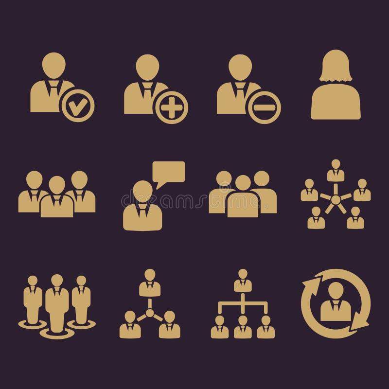 Zarządzanie ikona, set 12 ikony Drużyna i grupa, praca zespołowa, ludzie, sojusz, zarządzanie symbol Ui Sieć logo Znak ilustracji