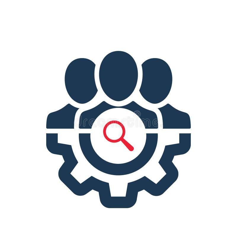 Zarządzanie ikona z badanie znakiem Zarządzanie ikona i bada, znajduje, sprawdza, symbol royalty ilustracja