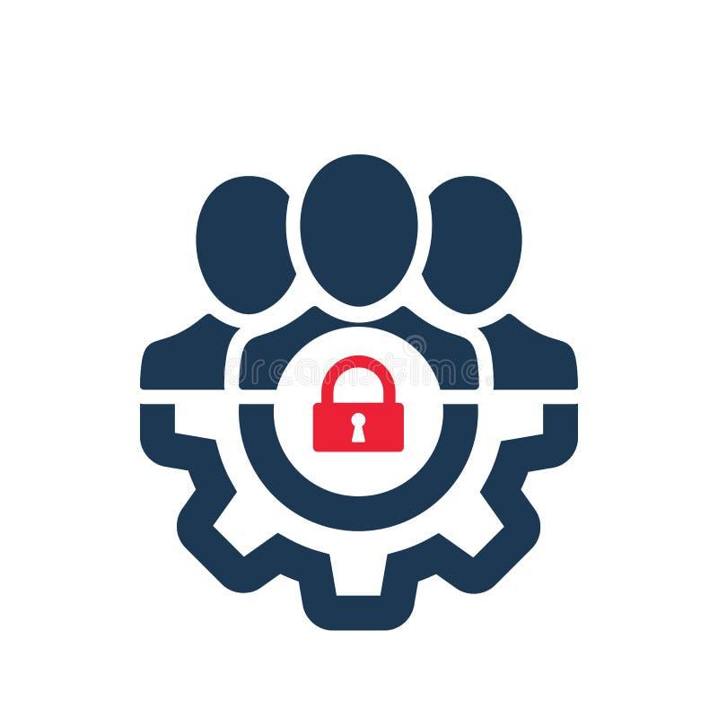 Zarządzanie ikona z kłódka znakiem Zarządzanie ikona i ochrona, ochrona, prywatność symbol ilustracja wektor