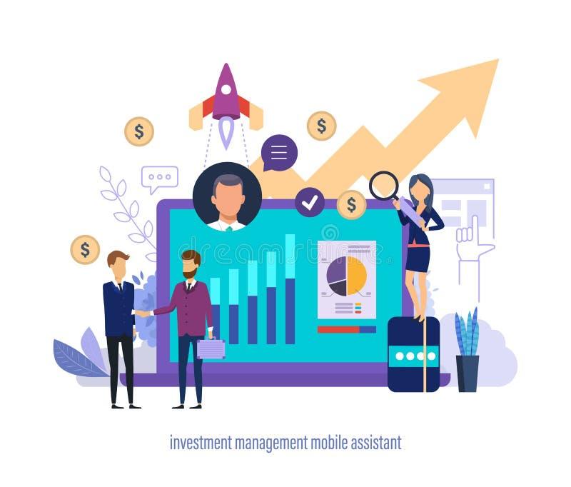 Zarządzanie inwestycyjne wiszącej ozdoby asystent Wirtualne biznesowe sprzedaże i inwestorski asystent ilustracji