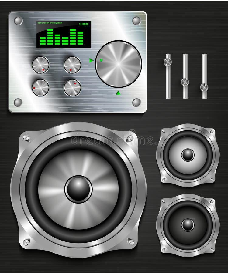 Zarządzanie konsoli głośnikowy system royalty ilustracja