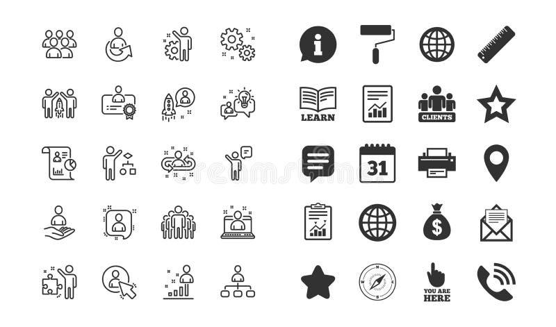 Zarządzanie kreskowe ikony Set Biznesowa rewizja, Początkowa strategia i pracownicy, wektor royalty ilustracja