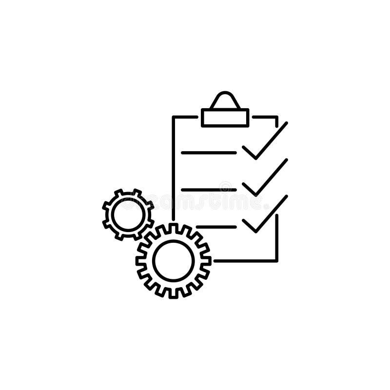 Zarządzanie projekta wektoru linii ikona, biznesowego dokumentu położenie royalty ilustracja