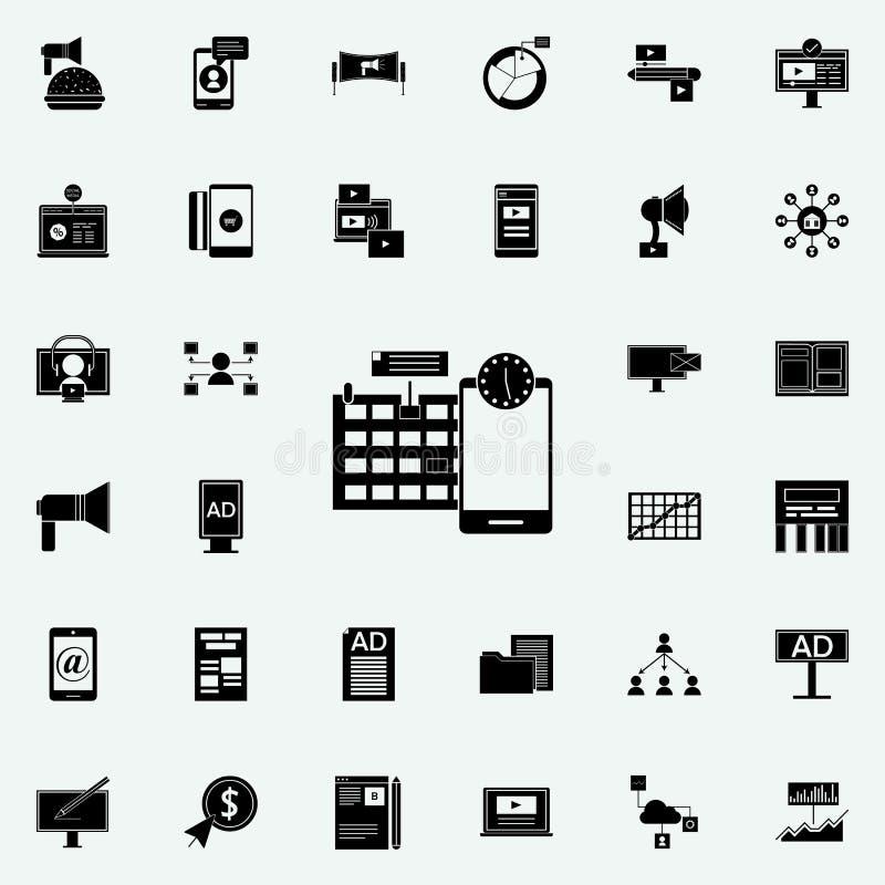 Zarządzanie projektem ikona Cyfrowych ikon marketingowy ogólnoludzki ustawiający dla sieci i wiszącej ozdoby ilustracji