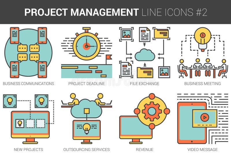 Zarządzanie projektem ikony kreskowy set ilustracji