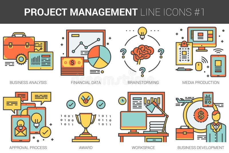 Zarządzanie projektem ikony kreskowy set ilustracja wektor