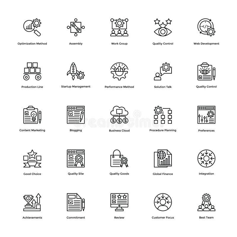 Zarządzanie Projektem Kreskowe Wektorowe ikony Ustawiają 23 royalty ilustracja