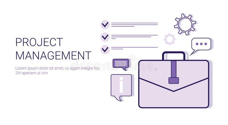 Zarządzanie Projektem pomysłu rozwoju pojęcia sieci Biznesowy sztandar Z kopii przestrzenią ilustracja wektor