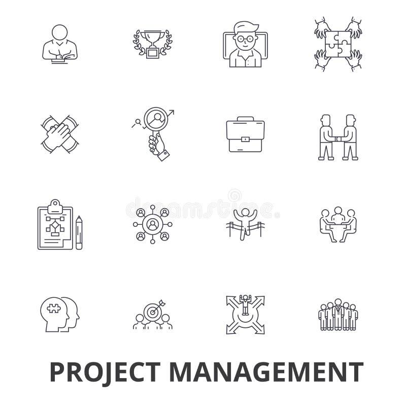 Zarządzanie projektem, projekt, plan, konsultuje, mapa, budowa, konstruuje kreskowe ikony Editable uderzenia mieszkanie ilustracji