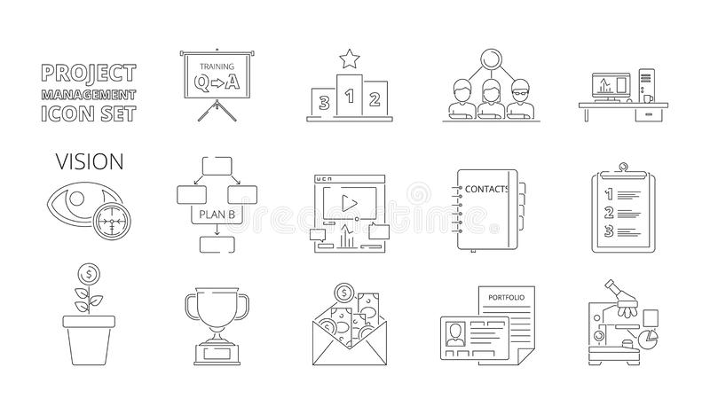 Zarządzanie projektem symbole Biznesowi proces planowania sieci crm systemy dla praca planu i strategia wektoru cienieją linię ilustracja wektor