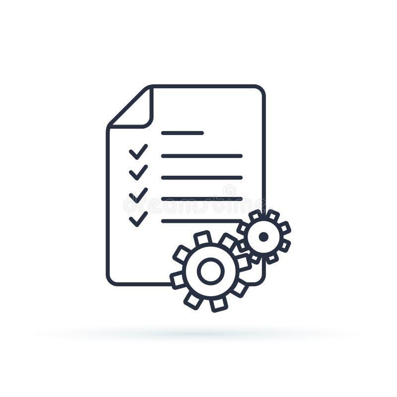 Zarządzanie Projektem wektoru linii ikona Schowek ikona Ilustracyjni pojęcia dla biznesowego planowania, zarządzanie projektem ilustracja wektor