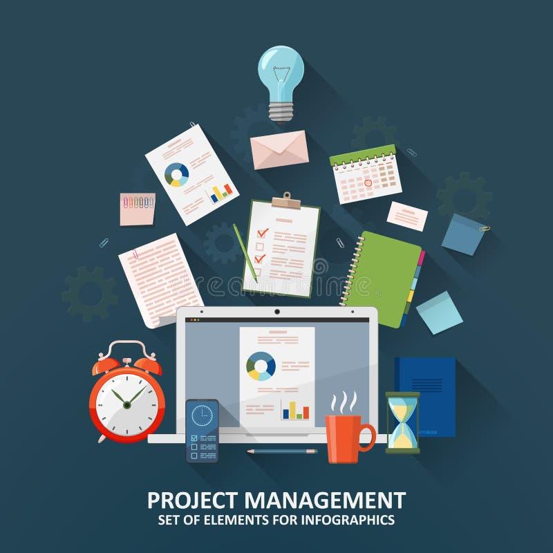 Zarządzanie Projektem Zegar, hourglass, spisuje, biurowe dostawy, laptop i smartphone, Płaska ilustracja ilustracja wektor