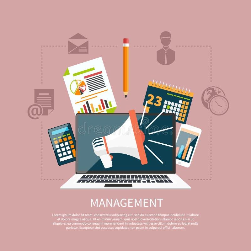Zarządzanie przedmioty, biznes i biuro rzeczy, ilustracja wektor