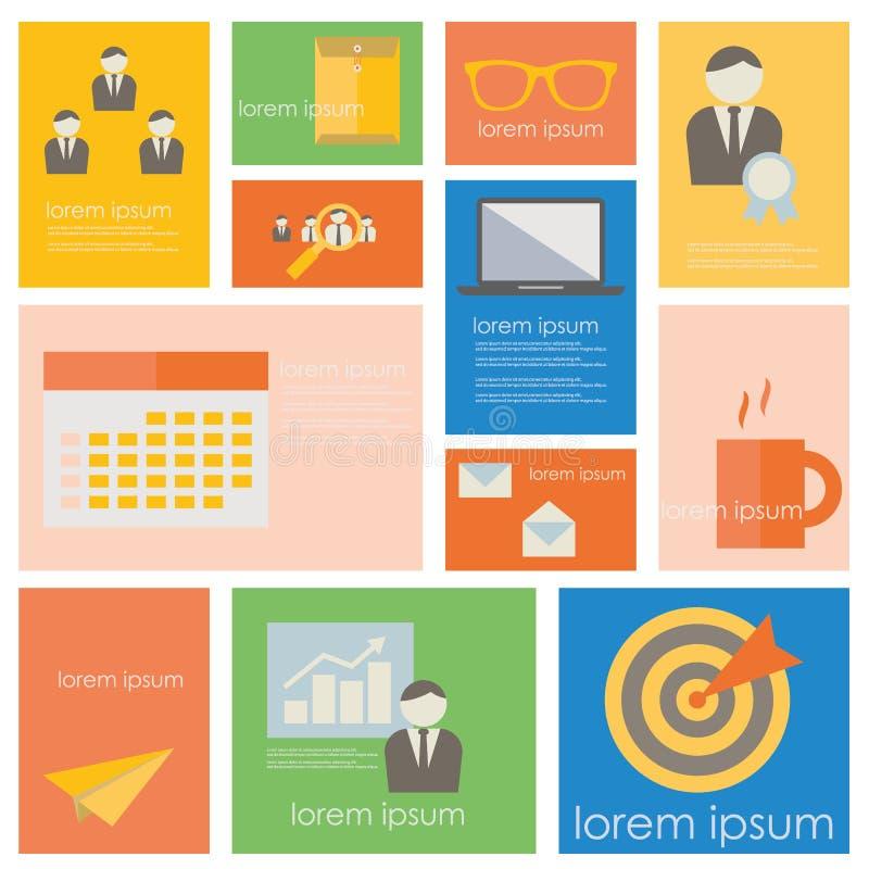 Zarządzanie przedsiębiorstwem i biura życia ikony set ilustracji