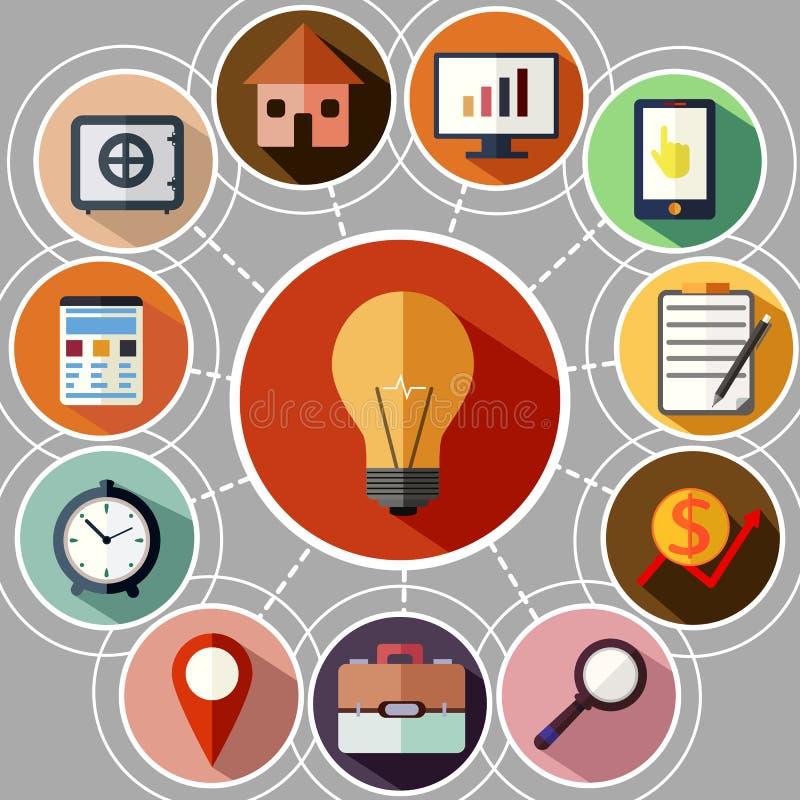 Zarządzanie przedsiębiorstwem i dane analityka ikony set ilustracja wektor