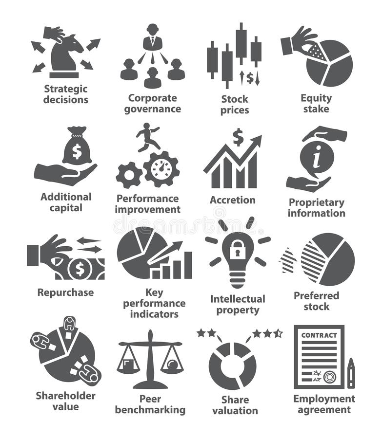 Zarządzanie przedsiębiorstwem ikon paczka 42 ilustracja wektor