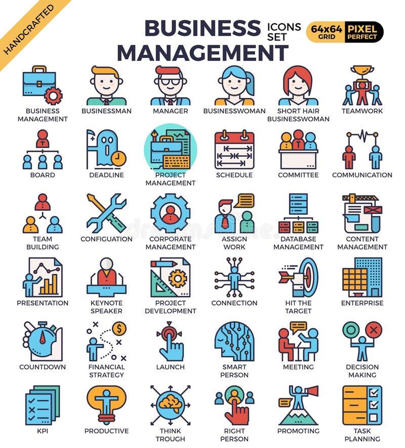 Zarządzanie przedsiębiorstwem ikony ilustracja wektor