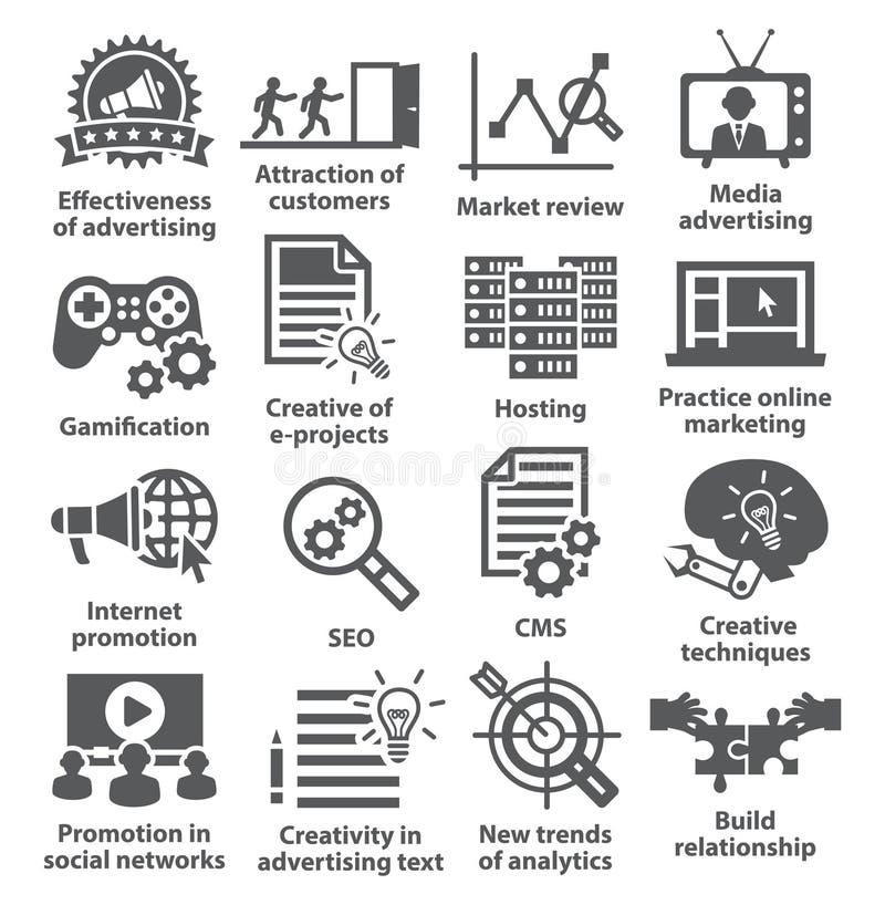 Zarządzanie przedsiębiorstwem ikony Paczka 05 ilustracja wektor