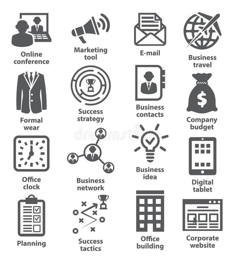 Zarządzanie przedsiębiorstwem ikony Paczka 12 royalty ilustracja