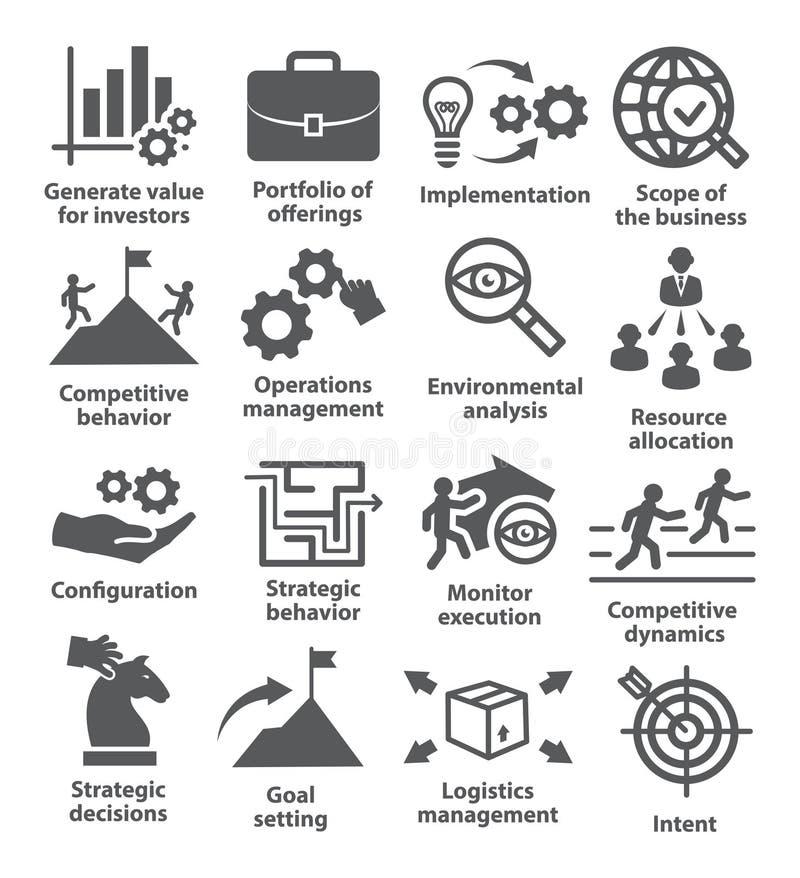 Zarządzanie przedsiębiorstwem ikony Paczka 15 ilustracja wektor