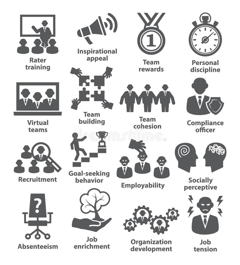 Zarządzanie przedsiębiorstwem ikony Paczka 21 ilustracji