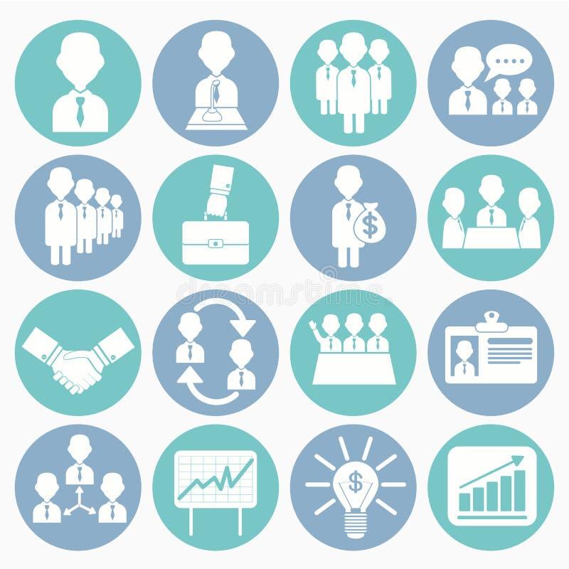 Zarządzanie przedsiębiorstwem ikony ustawiać ilustracji