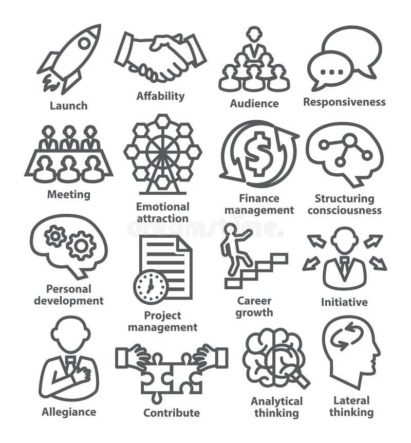 Zarządzanie przedsiębiorstwem ikony w kreskowym stylu Paczka 01 royalty ilustracja