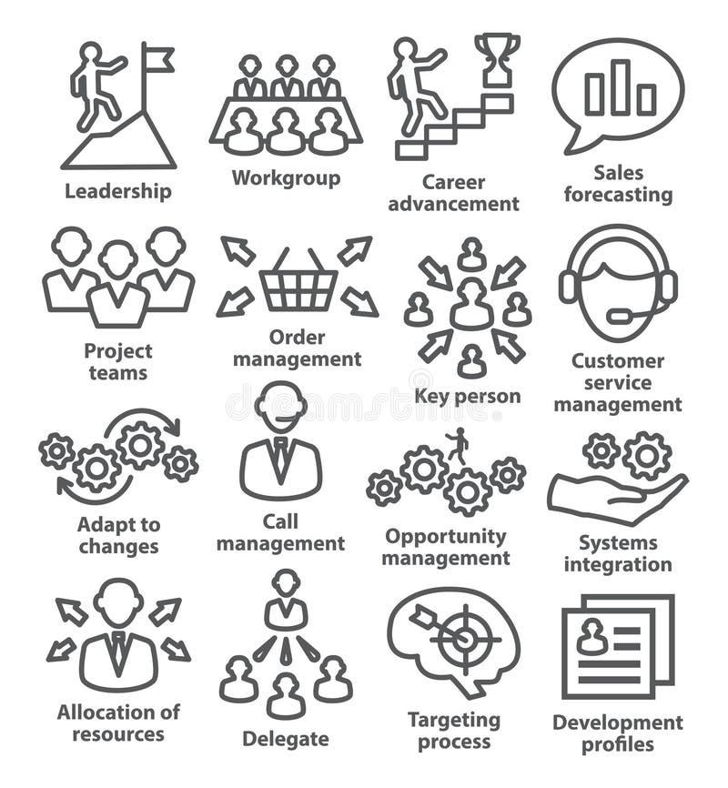 Zarządzanie przedsiębiorstwem ikony w kreskowym stylu Paczka 02 royalty ilustracja