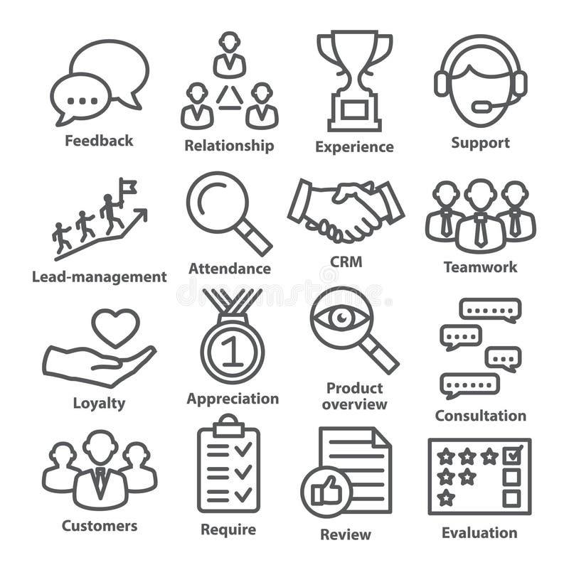 Zarządzanie przedsiębiorstwem ikony w kreskowym stylu Paczka 03 ilustracji