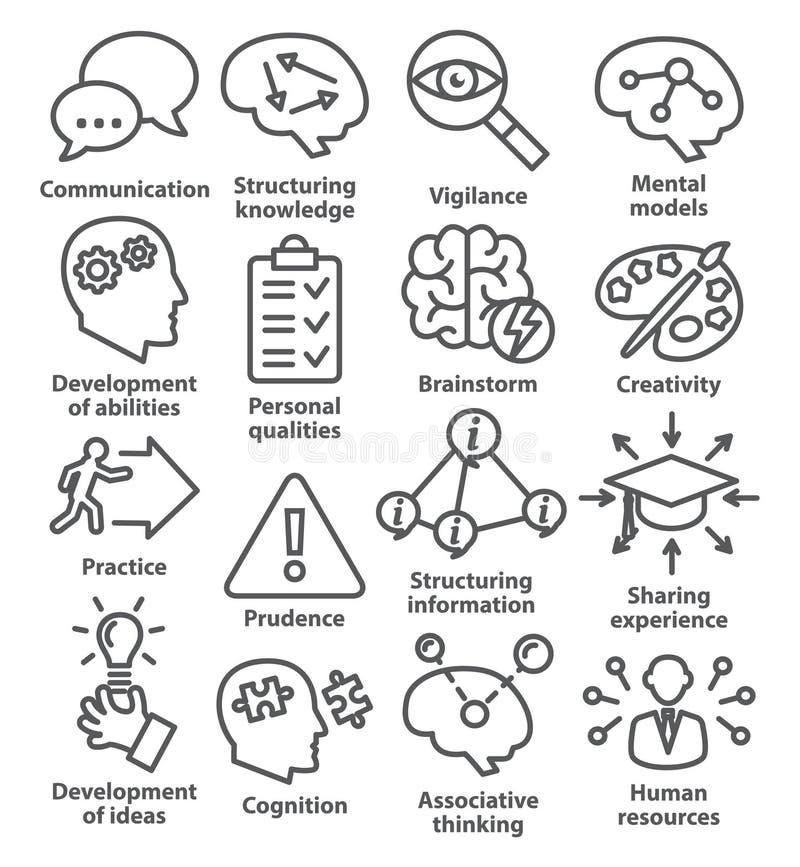 Zarządzanie przedsiębiorstwem ikony w kreskowym stylu Paczka 08 ilustracja wektor