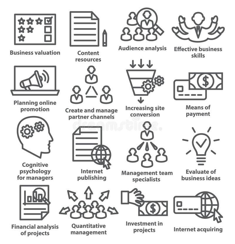 Zarządzanie przedsiębiorstwem ikony w kreskowym stylu Paczka 09 royalty ilustracja