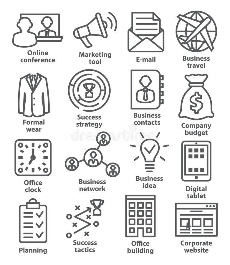 Zarządzanie przedsiębiorstwem ikony w kreskowym stylu Paczka 12 royalty ilustracja