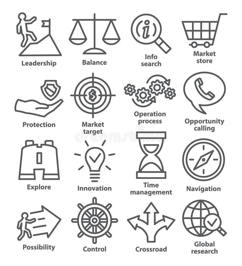 Zarządzanie przedsiębiorstwem ikony w kreskowym stylu Paczka 13 ilustracja wektor