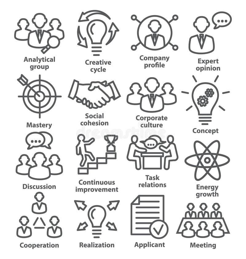 Zarządzanie przedsiębiorstwem ikony w kreskowym stylu Paczka 14 ilustracji